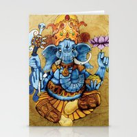 ganesh Stationery Cards featuring Ganesh by RICHMOND ART STUDIO