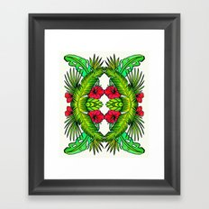 Palm Leaves and Hibiscus Framed Art Print