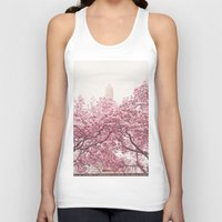 central park Tank Tops featuring Central Park - Cherry Blossoms by Vivienne Gucwa