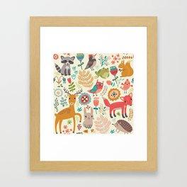 Woodland Animal Pattern Framed Art Print