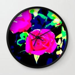 Pink and Black Rose Wall Clock