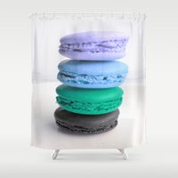macarons Shower Curtains featuring macarons / macaroons by WhimsyRomance&Fun