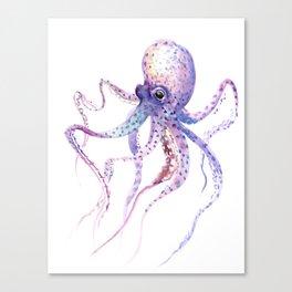 Octopus, soft purple pink aquatic animal design Canvas Print