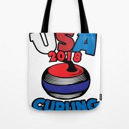 USA 2018 Curling American Curler Winter Sport Tote Bag