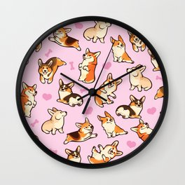 Lovey corgis in pink Wall Clock