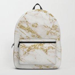 Elegant chic white gray gold glitter marble pattern Backpack