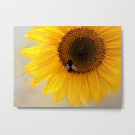 The Bee and the Sunflower Metal Print
