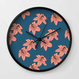 Lily The Tiger - Peach Blue Wall Clock