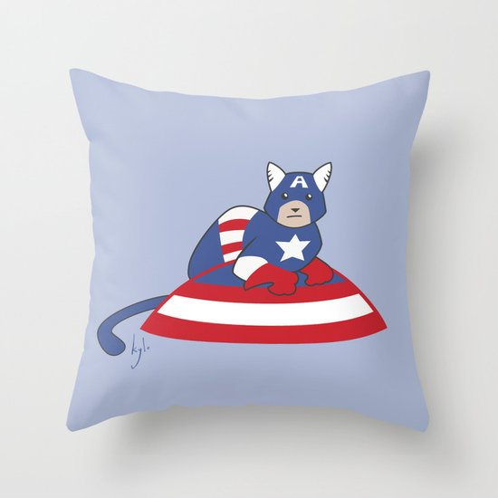 Captain AmeriCAT: The First Catvenger Throw Pillow