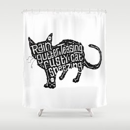 Rain Gutter Teasing, Rusty Cat Sneezing Shower Curtain