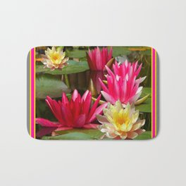 FUCHSIA PINK & YELLOW WATER LILIES Bath Mat