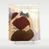 video games Shower Curtains featuring Video games by wreckthisjessy