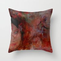postcard Throw Pillows featuring postcard reverie  by abstractgallery