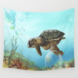 Green sea turtle swimming in ocean Wall Tapestry