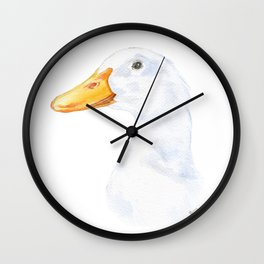 White Duck Watercolor Painting Wall Clock