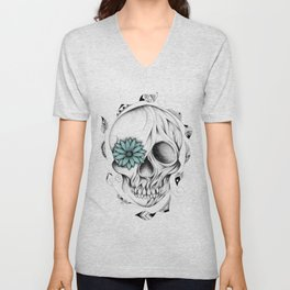 Poetic Wooden Skull Unisex V-Neck