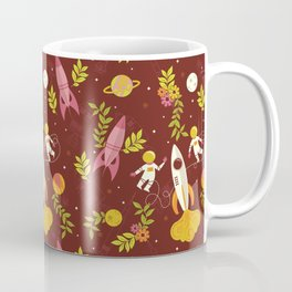 Astronauts in Space with Florals - Maroon Coffee Mug