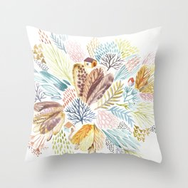 Tiny house in the whimsical garden Throw Pillow