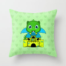 Chibi Dragon With A Blue And Yellow Castle Throw Pillow