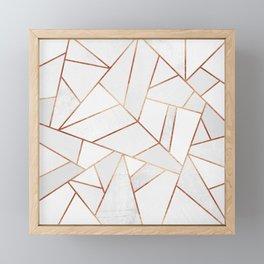 White Stone & Copper Lines Framed Mini Art Print