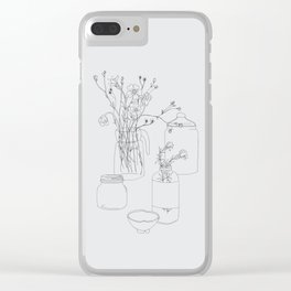 Flowers and jars Clear iPhone Case