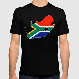 South Africa Map with South African Flag T-shirt
