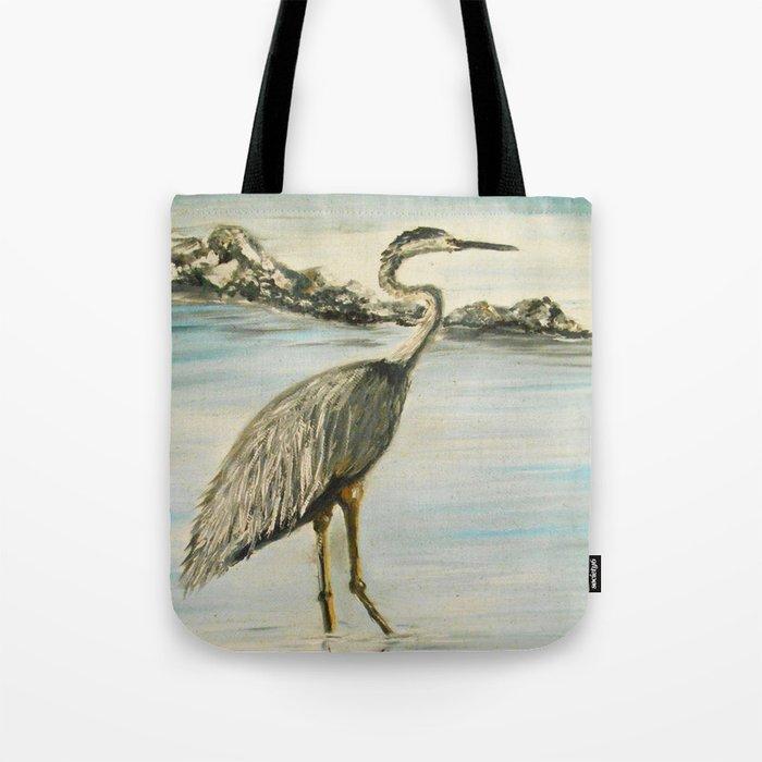 Great Blue Heron in Oil Tote Bag