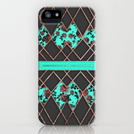 Modern Elegant Rose Gold Triangles and Teal Roses iPhone Case
