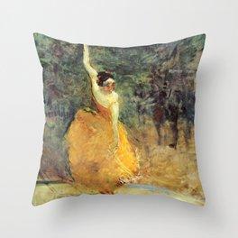 """Henri de Toulouse-Lautrec """"The Spanish Dancer"""" Throw Pillow"""