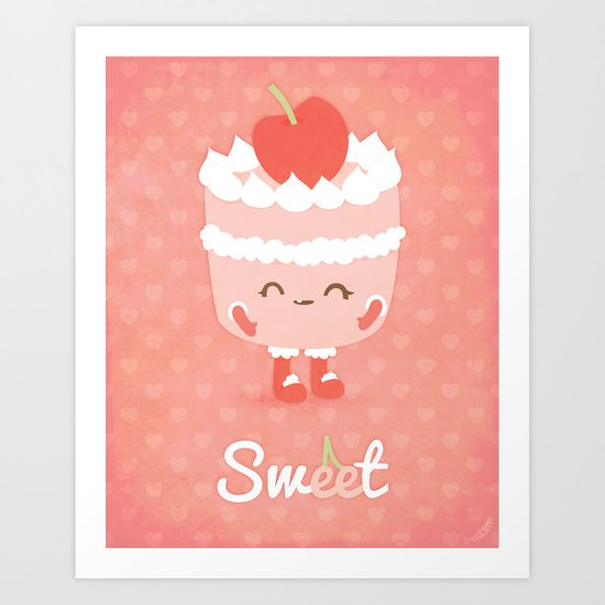 Sweet Cherry Cake Art Print