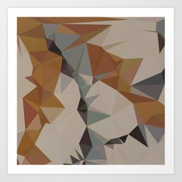 Cornsilk Brown Abstract Low Polygon Background Art Print