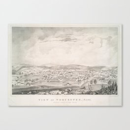 Vintage Pictorial Map of Worcester MA (1837) Canvas Print