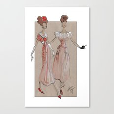Fashion Illustration - Pink Gowns Canvas Print