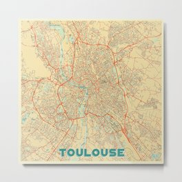 Toulouse Map Retro Metal Print