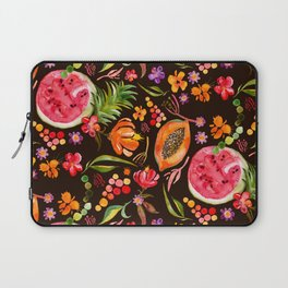 Tropical Fruit Festival in Black | Frutas Tropicales en Negro Laptop Sleeve