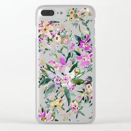 SWEPT AWAY Powder Blue Tropical Floral Clear iPhone Case
