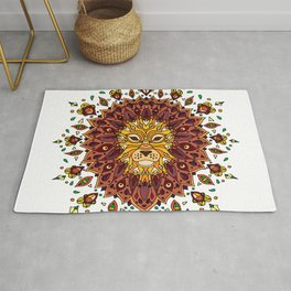 Lion Mandala in Colour Rug