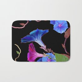 Black  Color Blue Morning Glory Art Design Pattern Bath Mat