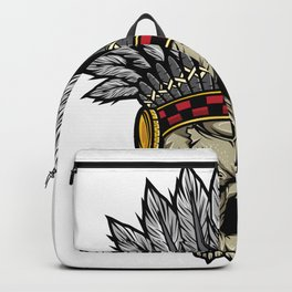 Indian Warrior Skull Is Ready For Battle With His Feathered Headdress And War Paint T-shirt Design Backpack