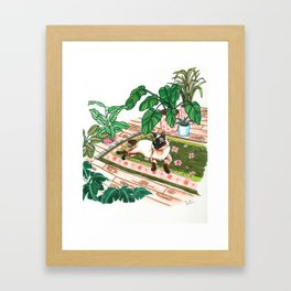 Lounging Siamese and Philodendrons Framed Art Print