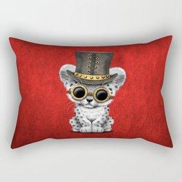 Steampunk Snow Leopard Cub Rectangular Pillow