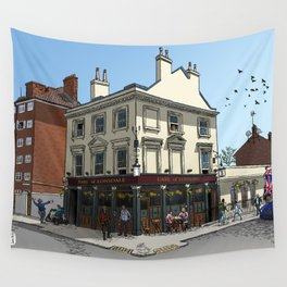Pigeons Over London Wall Tapestry