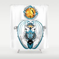 skyfall Shower Curtains featuring Cosmic Smoking Skyfall Dragon by Pr0l0gue