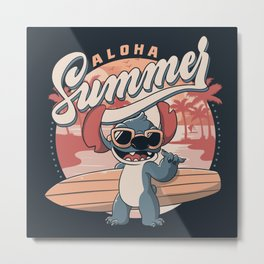 Aloha Summer Funny Alien Beach Metal Print