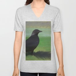 Crow and Feather Unisex V-Neck