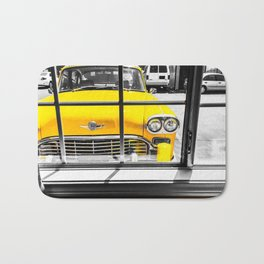 vintage yellow taxi car with black and white background Bath Mat