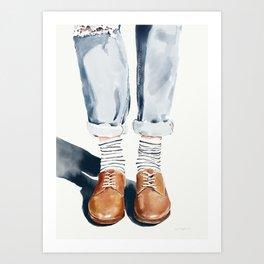 Brown shoes Art Print