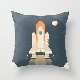 Spaceship Launch Throw Pillow