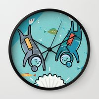 scuba Wall Clocks featuring Scuba Divers by Jack Hornady Illustrations
