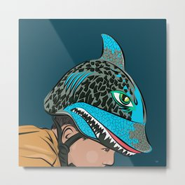 The Shark Helmet Metal Print
